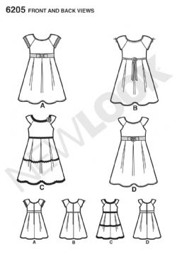 6205 New Look Pattern: Girl's Dress with Trim and Sleeve Variations